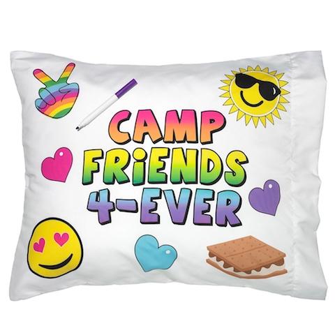 camp, friends, kids, summer, pillow, case, emoji